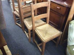 Set of 4 wicker seat dining chairs