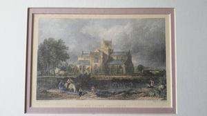 Antique print Cartmel Church, Lancashire. Framed & Mounted