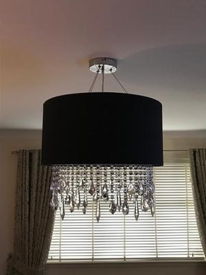 Black Pendant Ceiling Light with Hanging Crystals