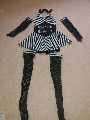 Black and white striped halterneck leotard