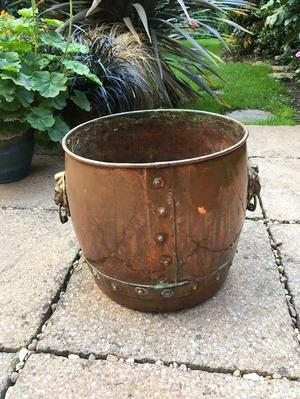 Copper and Brass Log Bucket with Lion Head Design
