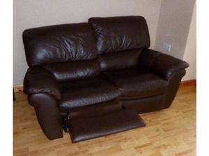 reclining two seater brown leather sofas in Bangor