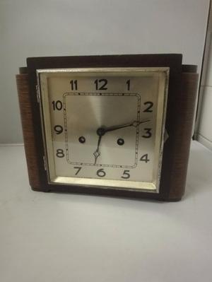 Art Deco s Mantle Clock in grained wood working british
