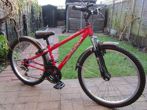 """BICYCLE 24"""" WHEEL CHILDRENS HARDTAIL MOUNTAIN BIKE RED AND"""
