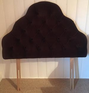 Brown velvet effect quilted single headboard