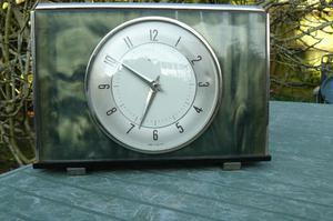 Clock, Metamec wind up green mother of pearl effect surround