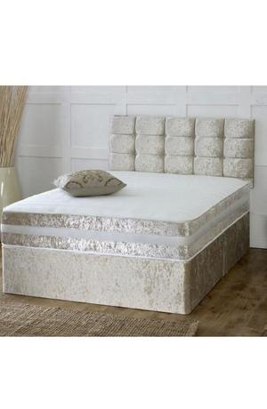 Cream crushed velvet divan bed