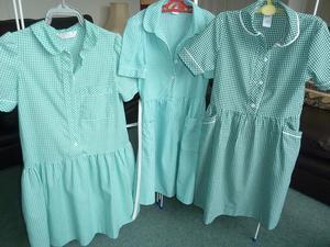 GREEN/WHITE SCHOOL DRESSES (3)