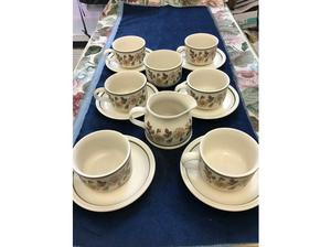 Marks and Spencer's Autumn Leaves Cups and Saucers x 6, milk