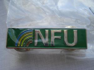 NEW METAL ENAMELLED NFU (NATIONAL FARMERS UNION) LAPEL BADGE
