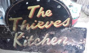 Origional metal sign for thieves kitchen pub in worthing.