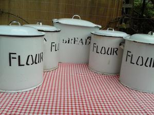 Set of four enamel Flour Containers & Traditional Vintage En