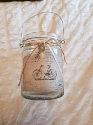 vintage glass jar candle holder