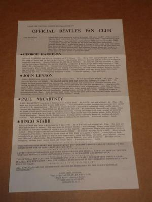 Beatles Original UK Fan Club Bio Sheet, .