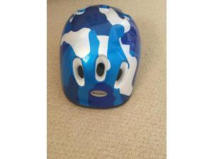 Blue camouflage style bike helmet in Cardiff