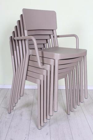 DELIVERY OPTIONS - SET OF 6 GREY STACKING CHAIRS WITH AGE MARKS