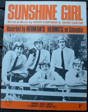 Herman's Hermits Original Sheet Music Sunshine Girl