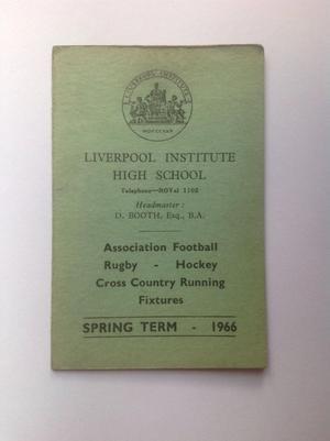 Liverpool Institute High School Fixture Card  Beatles