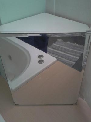 Solid Vintage retro bathroom corner cabinet, bevelled mirror