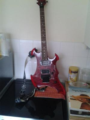 Vintage metal AXXE-Wraith electic guitar, blood red.
