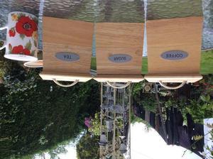 3 Wooden kitchen storage jars