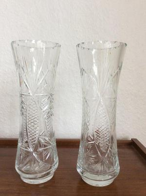 A pair of crystal vases