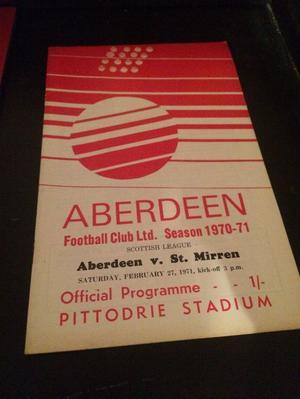 Aberdeen v St Mirren Football programme  season