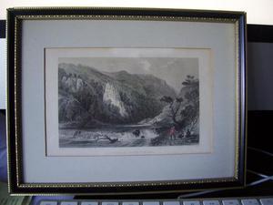 Antique framed C19 Derbyshire etching print