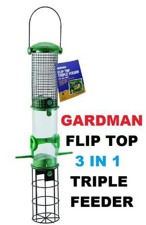 Bird Feeder Gardman Green Flip Top Triple 3 in 1 Seeds,