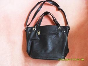 Black leather studded hand/shoulder bag