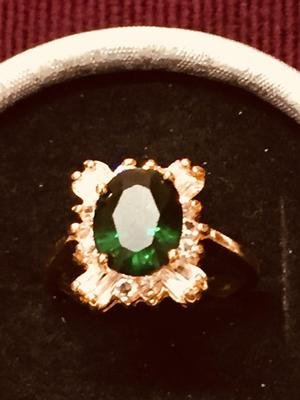 Brand new 24k gold plated deep green cubic zircon Ladies ring