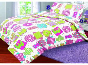 Cotton Rich Printed Duvet Cover with Pillowcase - Numbers: