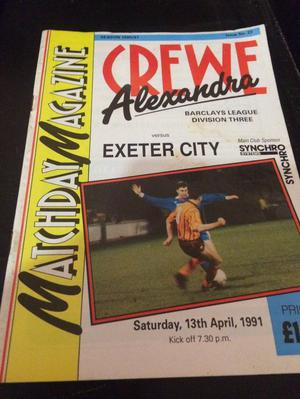 Crew e Alexandra v Exeter city football programme