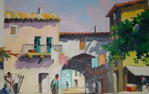 D'Oyly John. Village of Eze,Overlooking Monte Carlo.Original