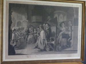 Engraving - church setting thought to be by Robert Mitchell