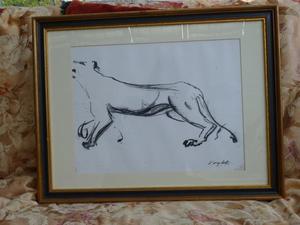 Framed copy of sketch by set designer Voytek of Lioness. Art