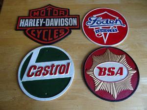 Harley-Davidson cast iron sign - Foden cast iron sign - Castrol sign - BSA sign £20 each