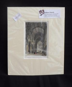 Hexham Church - Northumberland.Antique Print c