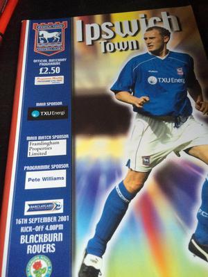 Ipswich Town v Blackburn Rovers footie programme