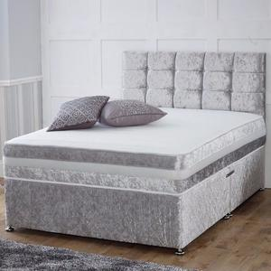 "Now Available Crushed Velvet Divan Bed inc 10""Deep Dual Turn Mattress & Matching York Headboard"