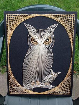 "Retro 60s/70s String Art ""Owl with Baby Owl"""
