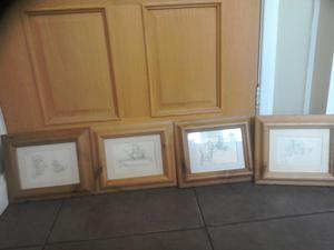 Set of 4 Winnie the poo pencil sketch pictures in pine frame