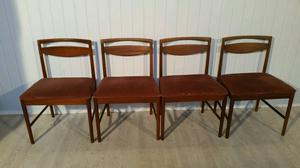 Set of Four Mid Century Teak Dining Chairs