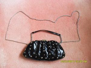 Small black studded leather clutch bag/purse