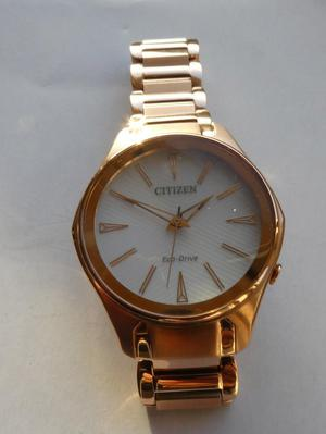 ladies eco drive rose gold tone citizen watch brand new boxe