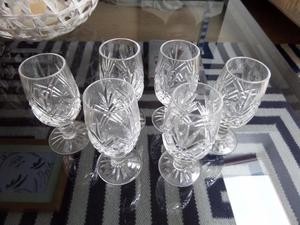 6 Edinburgh Crystal Glasses Shot Sherry Liqueur s