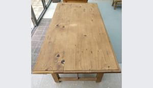 Antique French pine & oak refectory table cupboard