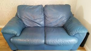 Blue Leather 2/3 seater sofa and matching armchair