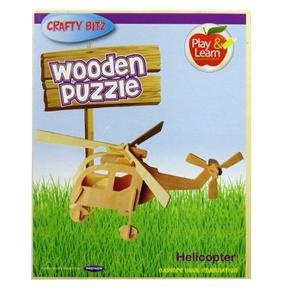 Childrens 3D Wooden Craft Puzzle - Helicopter, by Crafty