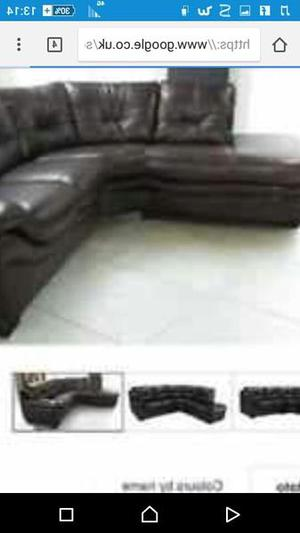 Corner sofa black Italian leather 150